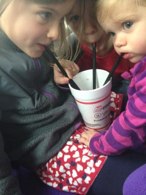 kiddos drinking milkshakes