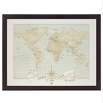 personalized anniversary push pin world map